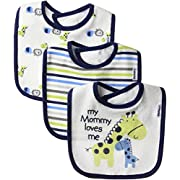 Gerber Baby 3 Pack Terry Dribbler Bib, Safari, One Size