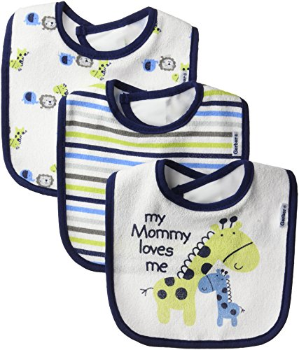 Gerber Baby Boys' 3-Pack Dribbler Bib, safari One Size