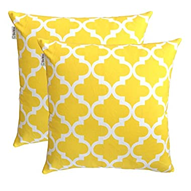TreeWool, (Pack of 2) Cotton Canvas Trellis Accent Decorative Throw Pillow Covers (18 x 18 Inches, Yellow & White)