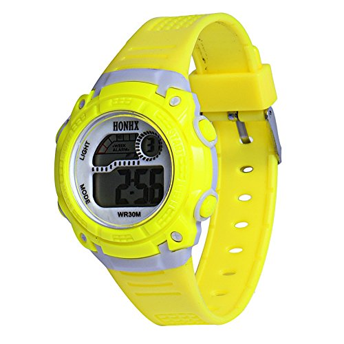 Demiawaking LED Digital Electronic Multifunction Child Boy Girl Student Rubber Band Sport Watches (Yellow)