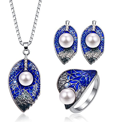 LUYUAN JEWELRY Fashion Women Jewelry Set Pearl Kiss Leaf Blue Enamel Leaf Single Pearl Pendant Necklace Stud Earrings - Ring#9
