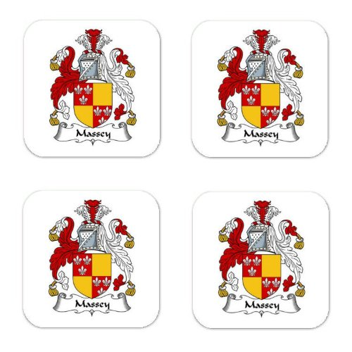 - Massey Family Crest Square Coasters Coat of Arms Coasters - Set of 4