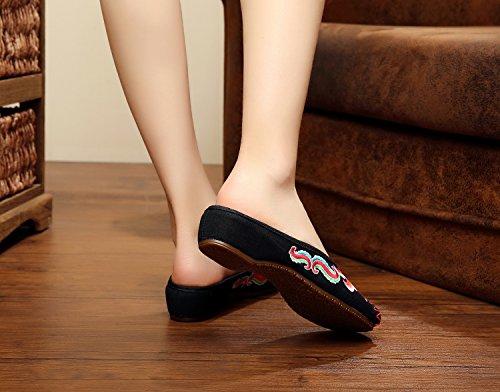 DESY Gestickte Schuhe, Sehnensohle, ethnischer Stil, weiblicher Flip Flop, Mode, bequem, Sandalen , black , 41