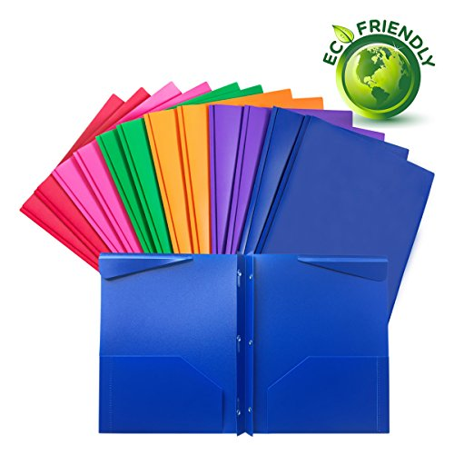 Plastic folders with pockets and prongs,heavy duty folders with brads,12/Pack