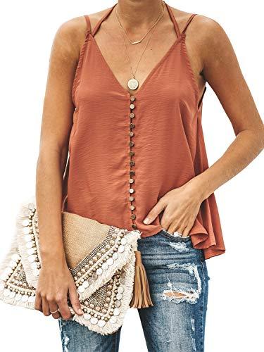 GAMISOTE Womens Vintage V-Neck Flowy Cami Button Down Halter Strap Tank Top Orange ()