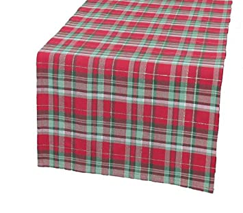 Xia Home Fashions Holiday Tartan Christmas Table Runner, 15 By 90 Inch