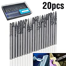 GOCHANGE 20 Pcs 1/8'' Shank Tungsten Carbide Rotary Burrs Set/ Rotary Files Diamond Burrs Set Fits Rotary Tool for Woodworking Drilling Carving Engraving