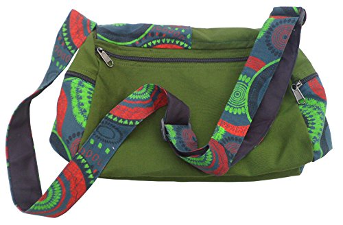 Nepalese Boho Shoulder Shopping Hobo Bag Travel Green Mix Cotton Trade Fair Print Uqxw7ga1