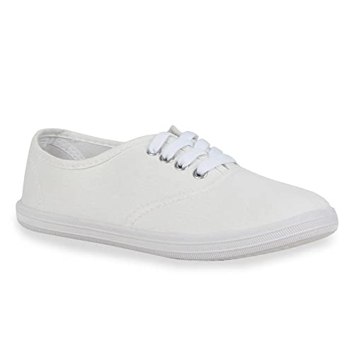 Stiefelparadies Trendy Damen Schuhe Sneakers Trendfarben Stoffschuhe Sportschuhe 119285 Weiss Carlet 38 Flandell 4WI1Rork4m