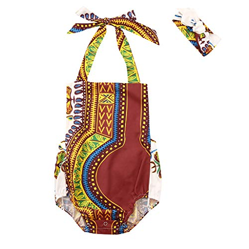 - WOCACHI Toddler Baby Girls Bohemia Style Africa Kids Strap Romper Jumpsuit Casual Clothes Infant Bodysuits Rompers Clothing Sets Christening Short Sleeve Organic Cotton Sunsuits
