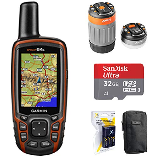 Garmin GPSMAP 64s Worldwide Handheld GPS with 1 Year Birdseye Subscription (010-01199-10) + 32GB Memory Card + LED Brite-Nite Dome Lantern Flashlight + Carrying Case + 4X AA Batteries w/Charger ()