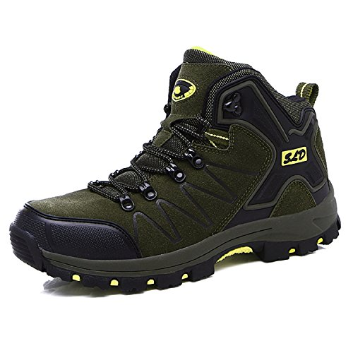 H-Mastery Unisex Adults Waterproof Trekking Walking Boots, Anti-Skid Breathable Fishing Couple Shoes Outdoor&Sport Hiking Boots Green