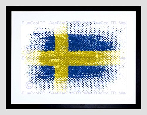 Swedish Flag Sweden Grunge Illustration Black Framed Art Print Picture -
