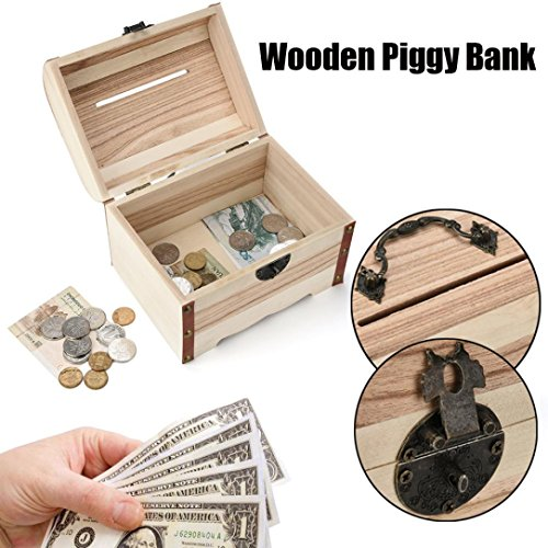 y Bank Safe Money Box Savings With Lock Handmade Wood Carving ()