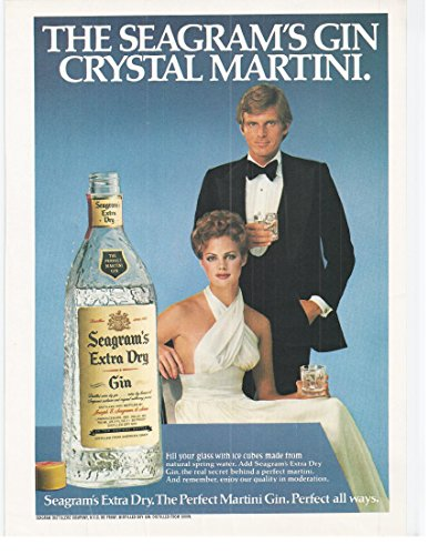 1979 Vintage Print Advertisement for Seagram's Extra Dry Gin | Crystal Martini