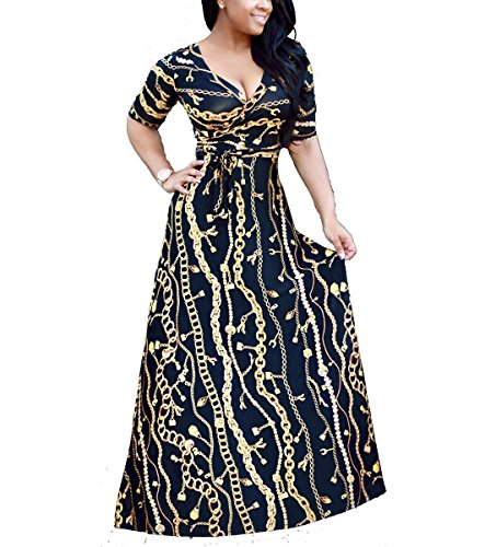 Womens Casual Sexy V Neck Long Sleeves Printed Loose Stretch Floor Length Maxi Prom Party Dress with Belt BlackGold