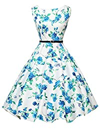 GRACE KARIN Boatneck Sleeveless Swing 1950's Vintage Dress with Belt