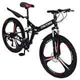 N/N Shimanos 21 Speed Bicycle with Full Suspension, 26in Carbon Steel Mountain Bike, Men and Women's Folding Mountain Bicycle