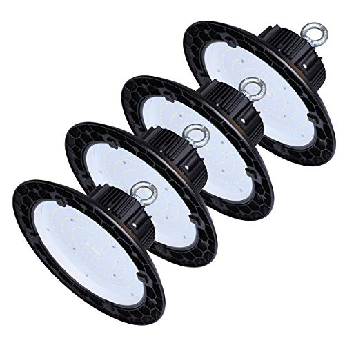 100 Watt UFO High Bay LED Shop Lights Commercial 5000k Bright White Warehouse Lighting (400W HID/Hps Equivalent) AC 90-277 Volts, Indoor Area Lighting with Diffuser, Waterproof IP65 4Pack ()