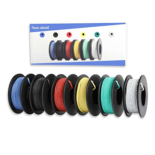 Nano Shield Hook-up Stranded Wire 22 AWG with UL3132, 6 Colors (23ft Each) Flexible 22 Gauge Silicone Wire Rubber Insulated Electrical Wire, 300V Tinned Copper Electric Cable for DIY
