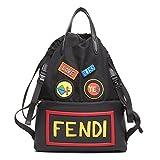 Fendi Unisex Leather Nylon Logo Print Drawstring Backpack Black