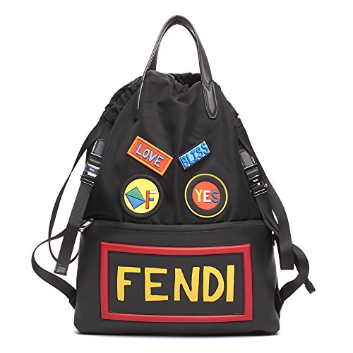 Fendi Unisex Leather Nylon Logo Print Drawstring Backpack Black by Fendi