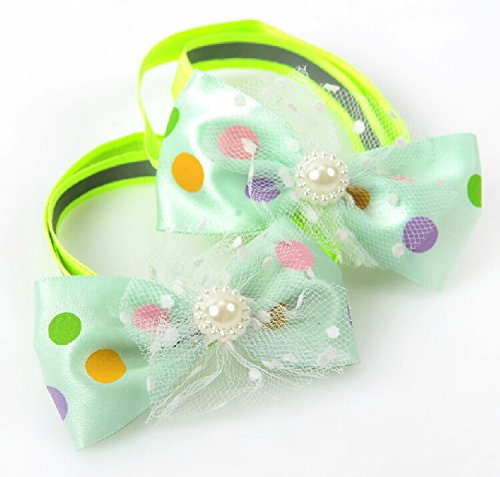 E-youth 2pcs White Pearl Pet Cat Dog Collar/Cat Dog Bow Tie Bell Collar
