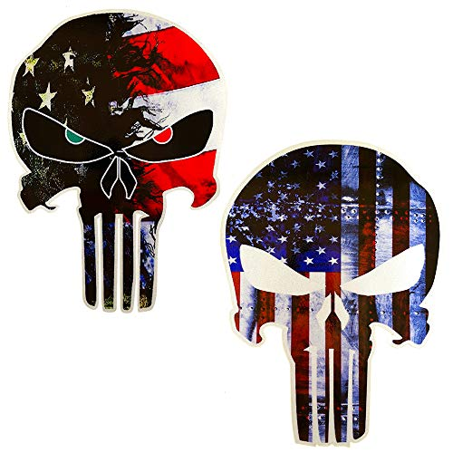 JumpyFire American Flag Punisher Skull Shaped & Stars and Stripes US Flag Car Stickers, 5.9 x 4.3inch Vinyl Decals for Cars & Trucks (B-Series) (Skull Decals For Trucks)