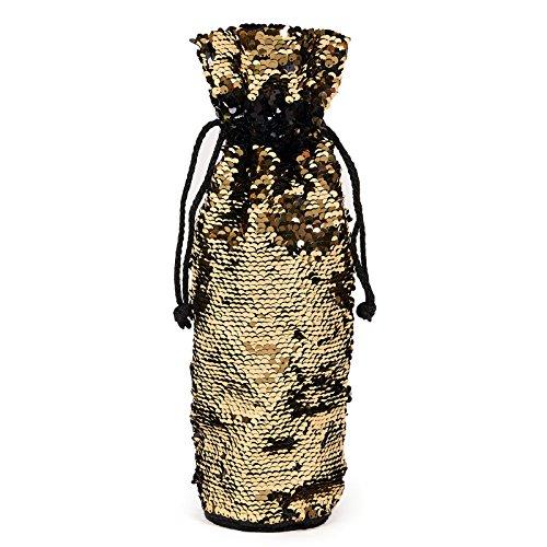 Gold & Black Magic Reversible Sequin Wine Bottle Gift -