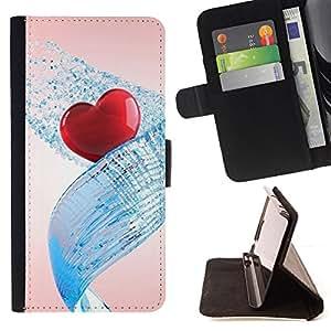 For Samsung ALPHA G850 - Love Water Heart /Funda de piel cubierta de la carpeta Foilo con cierre magn???¡¯????tico/ - Super Marley Shop -