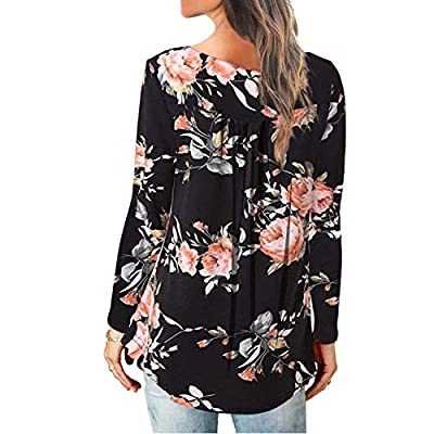 Women's Paisley Printed Button Top Long Sleeve V Neck Pleated Casual Flare Tunic Loose Blouse Shirt at Women's Clothing store