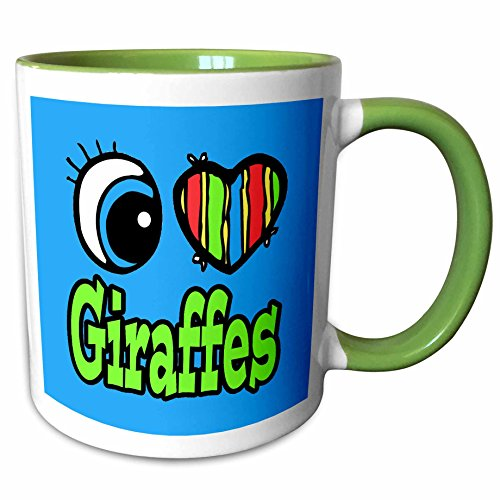 3dRose Dooni Designs Eye Heart I Love Designs - Bright Eye Heart I Love Giraffes - 15oz Two-Tone Green Mug (mug_106117_12) (Eyes Bright Giraffe)