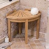 Premium Solid Teak Wood Corner Shower Seat Seat Mildew Resistant Natural Finish