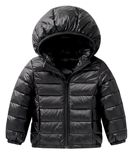 - Happy Cherry Baby Boys Girls Puff Jacket Hoodie Coat Windproof Winter Outerwear Lightweight Down Jacket Black Size 120cm