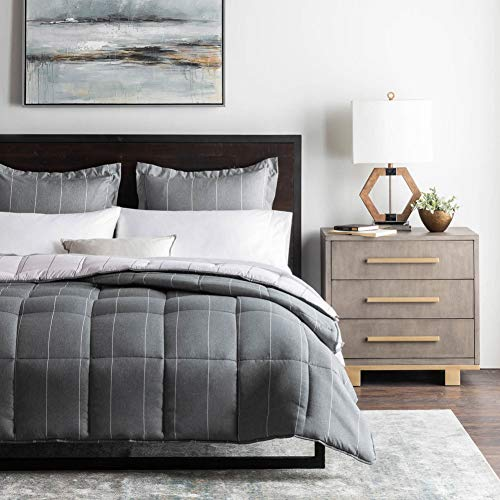 WOVEN Chambray Comforter Set - Classic Pin Striped Chambray Inspired Fabric - Includes Pillow Shams - Down Alternative - Hypoallergenic - All Season-Box Stitched Design - Flint - Oversized Queen