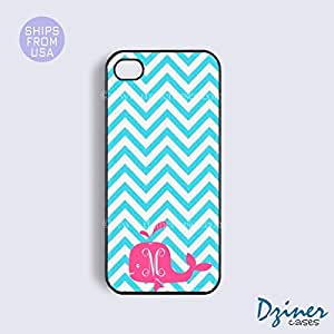 Personalized Your Initials iPhone 6 Case - 4.7 inch model - Blue Chevron Pink Whale iPhone Cover