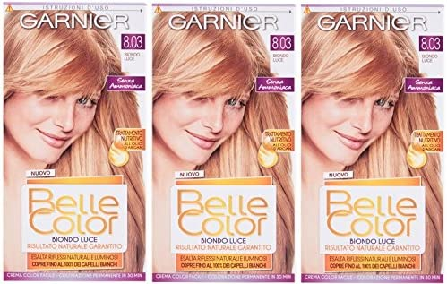 3 x Garnier Belle Color 8.03 Shimmering Rubio – Tinte permanente para cabello colorante