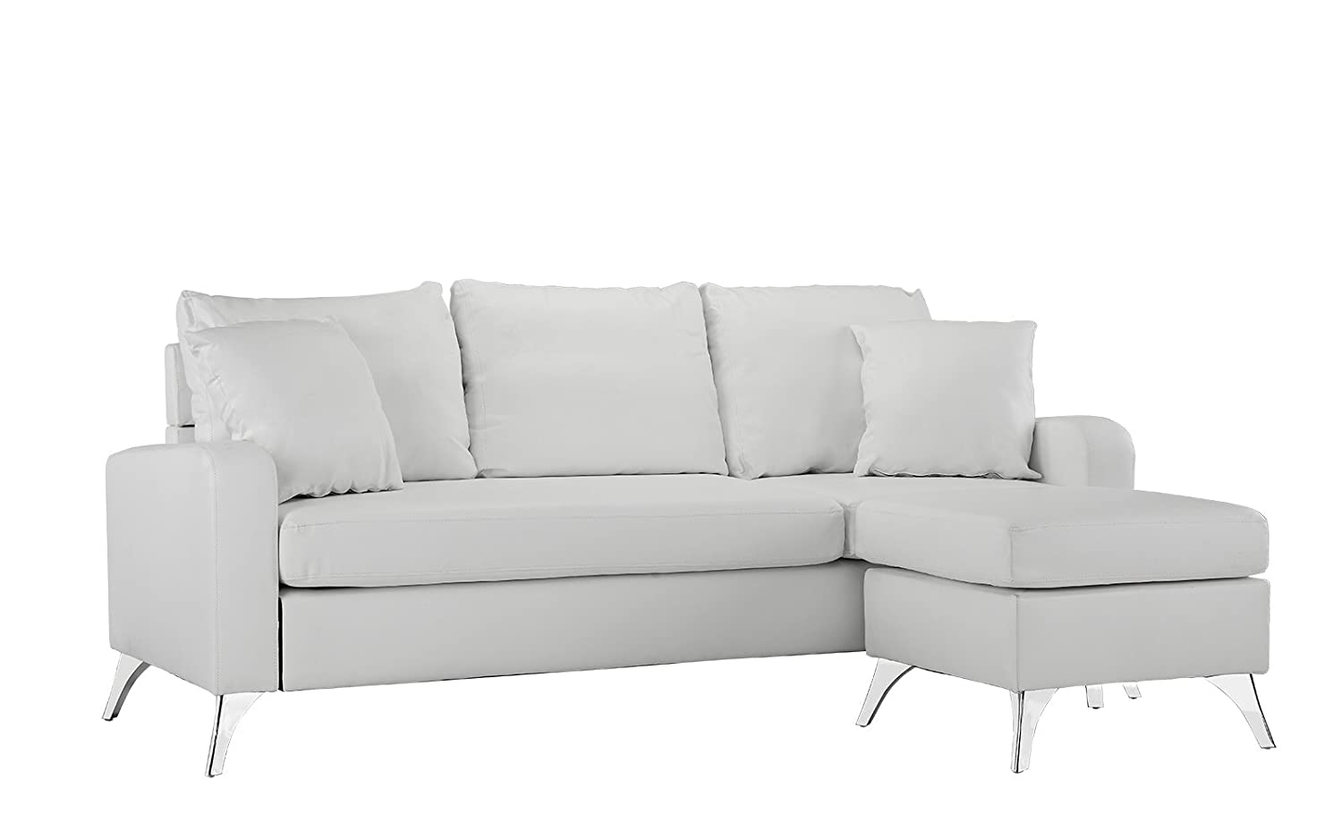 Divano Roma Furniture Bonded Leather Sectional Sofa U2013 Small Space  Configurable Couch (White)