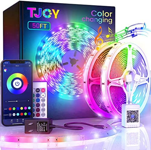 50ft Bluetooth LED Strip Lights, Music Sync 5050 LED Light Strip RGB Color Changing LED Lights Strip with Phone Remote, LED Lights for Bedroom Kitchen TV Party TIKTOK DIY (APP+Remote +Mic)