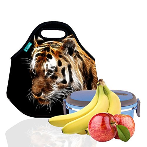 Lunch Tote, OFEILY Lunch boxes Lunch bags with Fine Neoprene Material Waterproof Picnic Lunch Bag Mom Bag (Tiger Lighting Supplies)