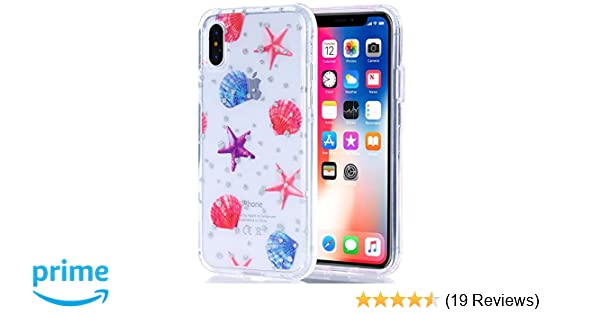 BAISRKE iPhone Xs Case, iPhone X Case Clear with Glitter Shells Starfish  [Fusion] Hard PC Back Soft TPU Bumper Raised Edge Drop Protection Cover for