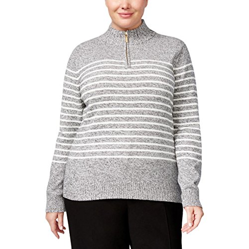 Karen Scott Womens Plus Striped 1/4 Zip Pullover Sweater Gray 2X (1/4 Zip Striped Sweater)