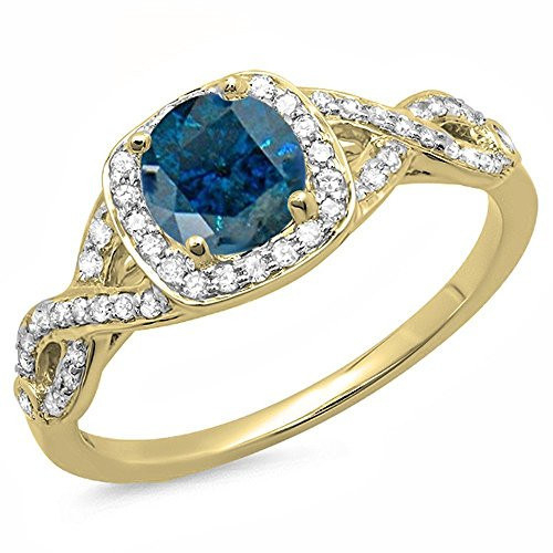 Dazzlingrock Collection 1.00 Carat (ctw) 14K Blue & White Diamond Swirl Split Shank Halo Engagement Ring, Yellow Gold, Size 7