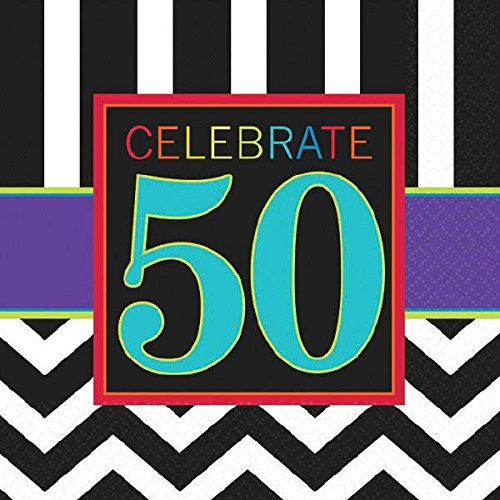 Must-Have Chevron and Stripes 50th Birthday Party Beverage Napkins Tableware, Pack of 16, Multi , 5