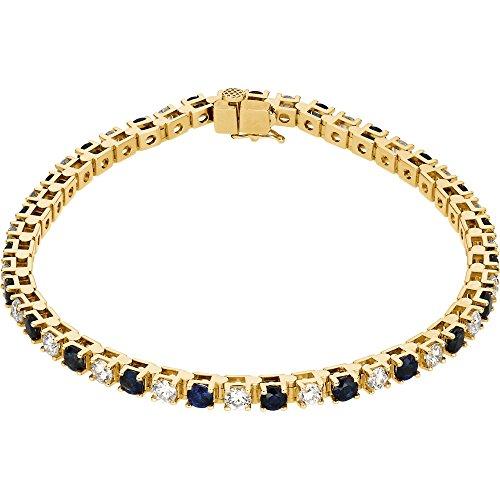 "7.25""14K Yellow Gold Blue Sapphire & 2 3/8 CTW Diamond Bracelet"