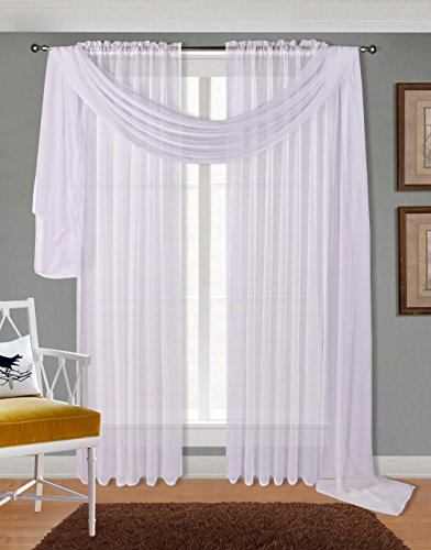 Luxury Discounts LuxuryDiscounts 2 PC Solid Rod Pocket Sheer Window Curtain Treatment Drape Voile Panels In Variety Of Colors (55