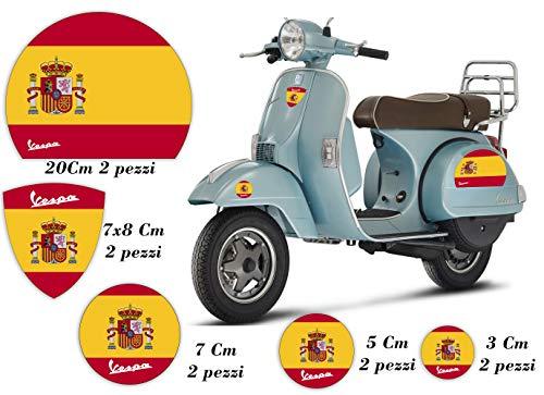 Pegatinas de motos - VESPA - BANDERA - ESPAÑA - Kit Logotipo Scudetto Círculos Casco Paneles laterales Piaggio: Amazon.es: Handmade