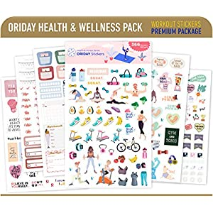 Oriday Health & Wellness, Workout – Set of 366 Stickers, 6 Sheets for Fitness Stickers – Mom, Student, Habit Tracker, for Monthly, Weekly & Daily Planner, Calendar or Journal – Sticker Book for Women