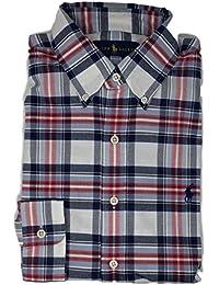 Polo Men's Long Sleeve Oxford Button Down Shirt WhiteBlue...