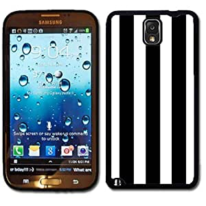Samsung Galaxy Note 3 Black Rubber Silicone Case - Stripes Black and White Trendy Stripes